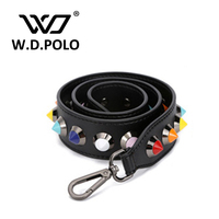 W D POLO Split Leather Fashion Handbag Strap Lady Chic Own Design Round And Square Stud