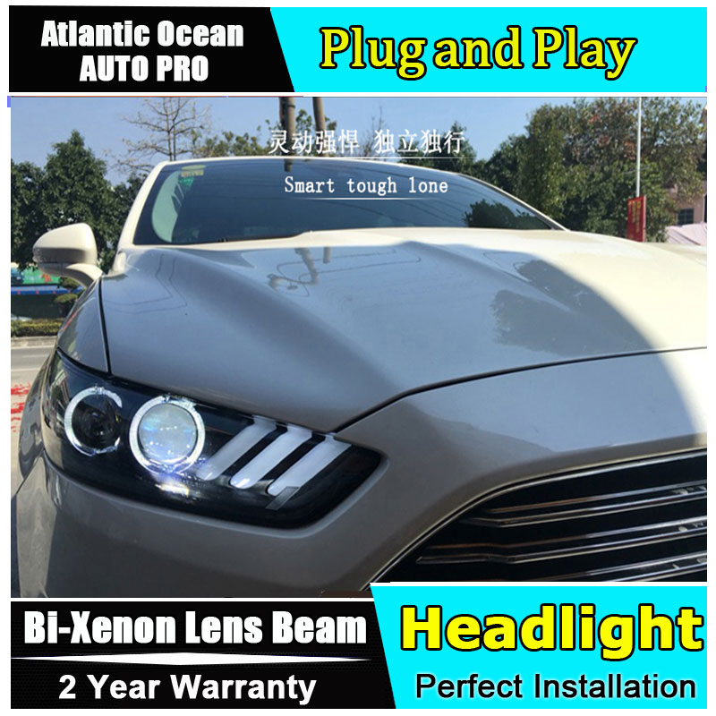 Car Styling 2013-2016 for Ford Mondeo Fusion Headlights Mustang style LED Headlight DRL Lens Double Beam HID Xenon bi xenon lens free shipping vland factory auto car styling for ford escorts fries headlight led 2015 2016 headlamp with hid xenon