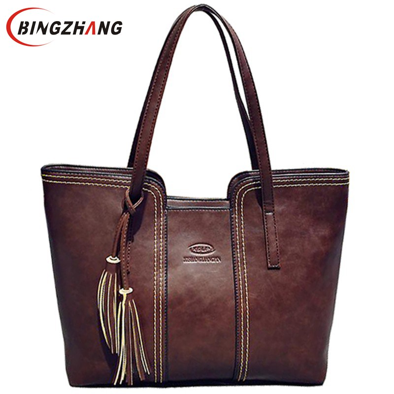 2017 New Women Messenger Bags With Tassel Famous Designers Leather Handbags Large Capacity Women Bags Shoulder Tote Bags L4-2111