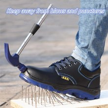 Men Work Boots solid bottom Safety Shoes Steel Toe Cap Anti-Smashing Puncture Proof Durable Breathable Protective Footwear