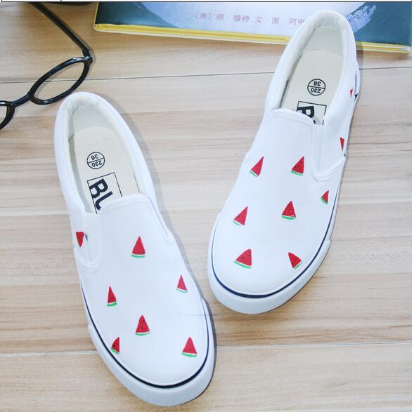 2016 spring pedal women's shoes lazy small fresh canvas shoes hand-painted shoes single shoes