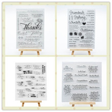 4pcs English thank birthday word Transparent stamps  Clear Rubber Stamp for Scrapbooking Photo Album Paper Card DIY Craft