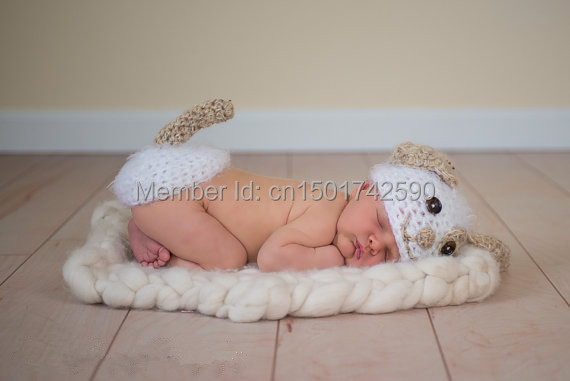 Baby Girl Boy Infant Dog Hat & Diaper Cover Set Crochet Knitted Packing Of Nominated Brand
