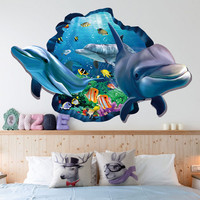 undewater sea dolphin fish through wall stickers for kids rooms decor 3d effect animal wall decals pvc poster 60*90cm mural art