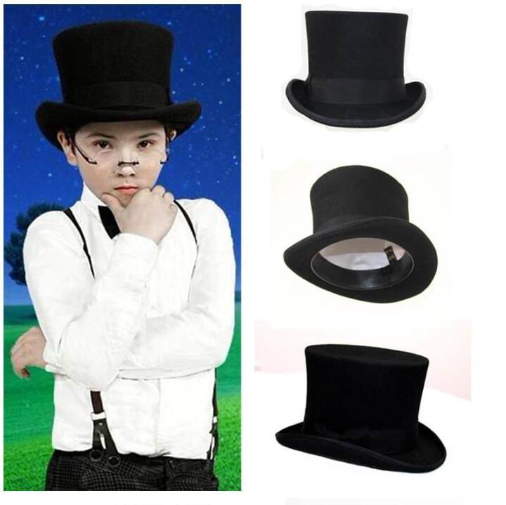 ФОТО Black Child Steampunk Hat DIY Kids Mad Hatter Top Vintage Boy girl Traditional Wool Fedoras Uncle Sam Beaver