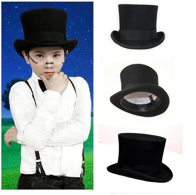 a37694fc0fc5c6 Black Child Steampunk Hat DIY Kids Top Hat Vintage Boy girl Traditional  Wool Fedoras Hat Beaver Hat
