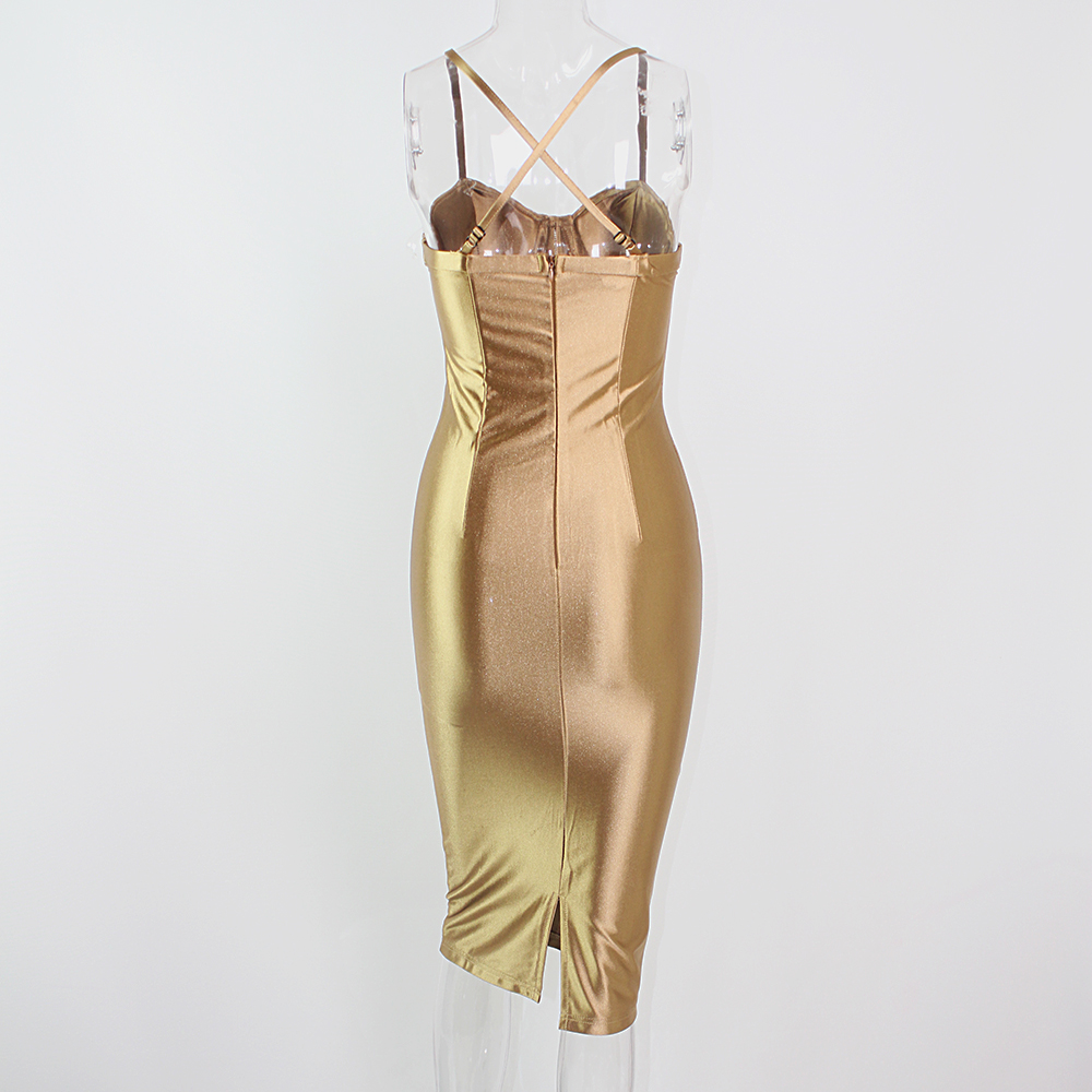 Sexy Party Midi Dress Bodycon Satin Shiny Party V Neck Sleeveless Split Back Cross Straps Gold Red Knee length Dresses Black 21