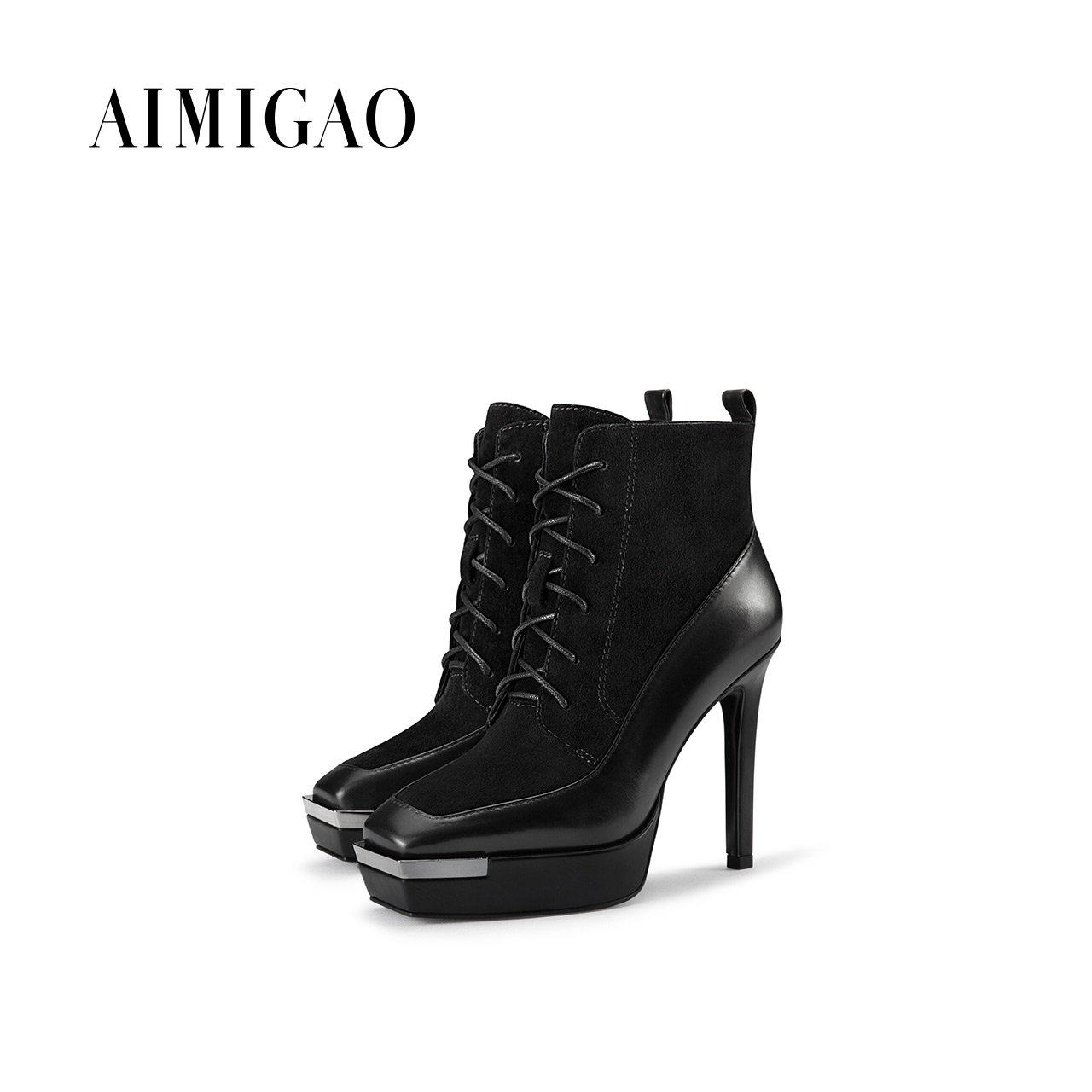 AIMIGAO women suede Leather platform high heel ankle boots fashsion women's side zipper Lace-up boots shoes 2017 winter new