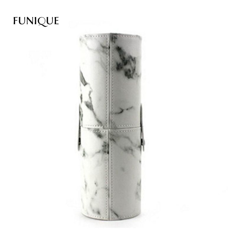 FUNIQUE High Quality Marble Pattern Makeup Brush Tube Storage Boxes For Girls Ladies
