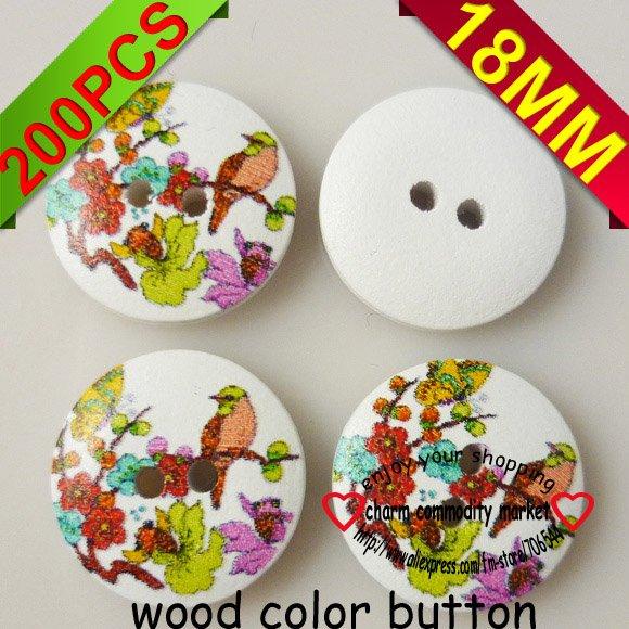 ᐃ200 unids 18mm pájaro patrón color madera Botón de costura del ...