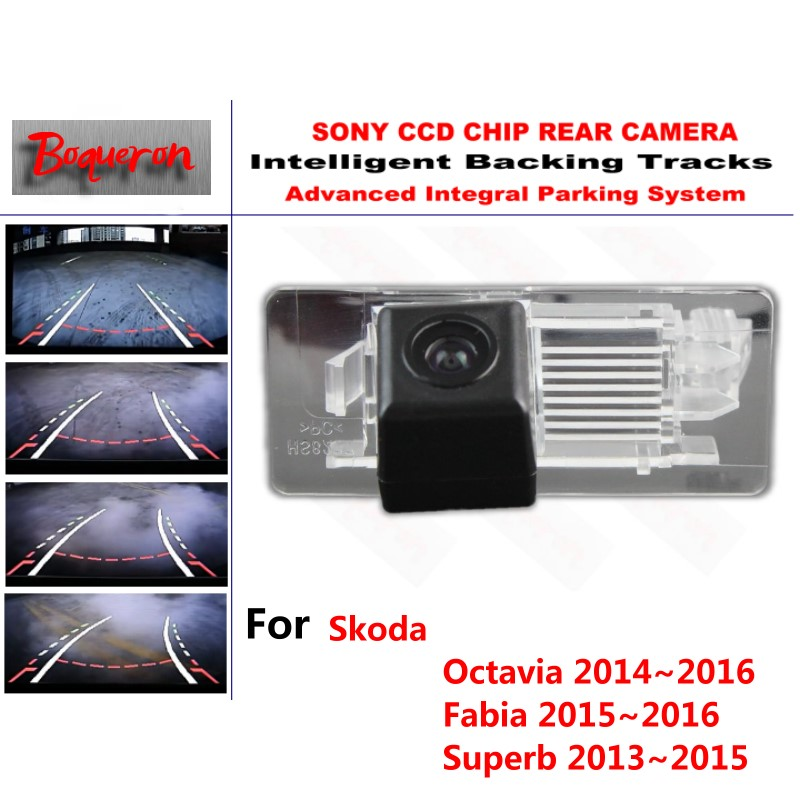 for Skoda Octavia Fabia Superb 2013~2016 CCD Car Backup Parking Camera Intelligent Tracks Dynamic Guidance Rear View Camera