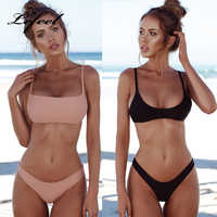 Lefeel 2019 Sexy Bikini Set mujeres traje de baño Bikini sólido sin espalda traje de baño de cintura baja mujer brasileño Biquini