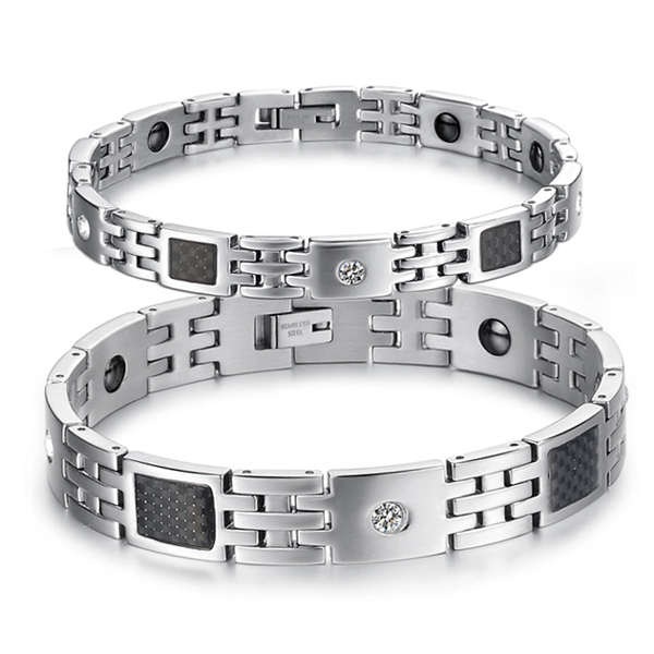 hot selling classic titanium magnetic jewelry mens and womens friendship paired bracelets & bangles set