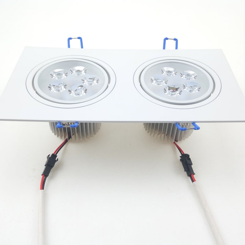2x5W Double Heads LED Light Lamp AC 85~265V 10W Downlight Ceiling Spotlight Warm white Cold white with Driver Square CE ROSH DHL