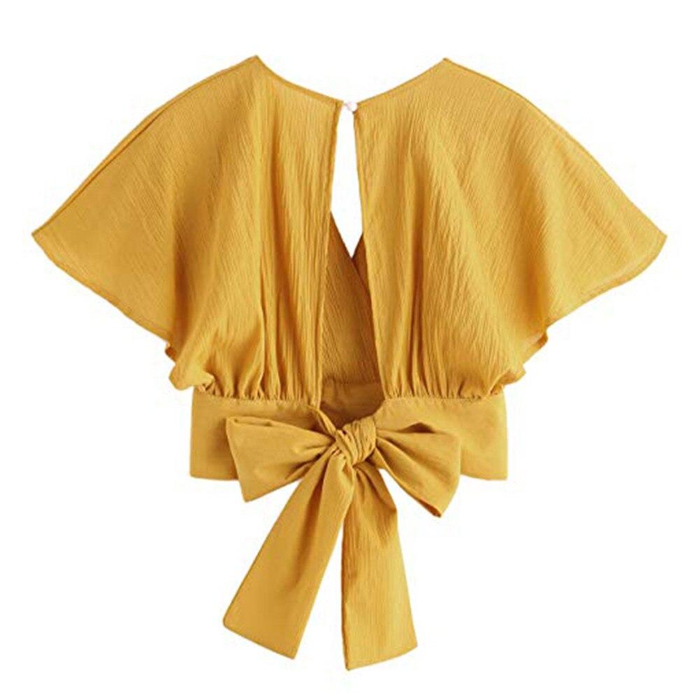 Women Ladies Bow Short Sleeve Shirt Blackless V Neck Short Tops Polyester Solid Women's Harajuku Crop top #7925 10 Online shopping Bangladesh