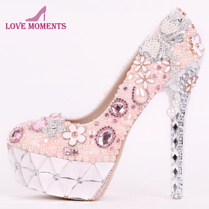 Pink Pearl Wedding Shoes Tassel High Heel Gorgeous Design Bridal Dress Shoes Girl Birthday Party Prom