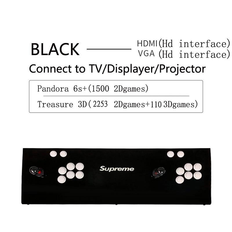 Newest arcade Pandora 6s+ 2363games Arcade Console USB Joystick Arcade Buttons With  2 Players Control Retro 3D Arcade Game Box