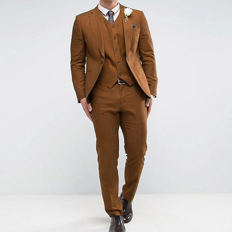 Grown Gentleman Slim Fit Mens Suits for Prom 2019 Notched Lapel 3 Piece Jacket Vest Pants Man Set Custom Made Groomsman Tuxedos