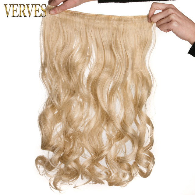 Clip In One Piece Blonde Wavy 22 Long High Tempreture Synthetic
