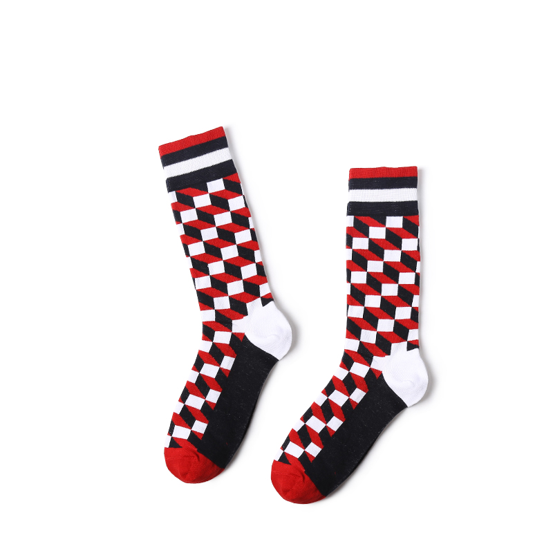 VVQI Mens hip hop dress socks British style grid cotton socks harajuku funny socks gifts for men lattice novelty male socks art