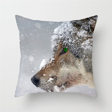Fuwatacchi Animal 3D Wolf Print Cushion Cover Sofa Home car Decor throw pillows Moon Dog Tiger Mountain Pillowcase