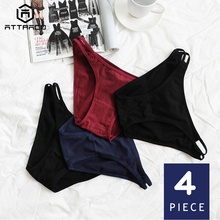 ATTRACO Womens Hipster Panties Underwear 4 Packs Cotton Soft Ladies Stretch Breathable Transparent Tempting Tanga Thong Sale