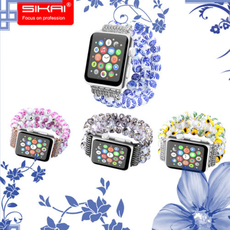 SIKAI New Design China Style Porcelain 42mm Watch Band For Strap Bracelet For Apple Watch iwatch Wristband For Apple Watch Case nanox apple ipod nano watch conversion kit silver case clear strap