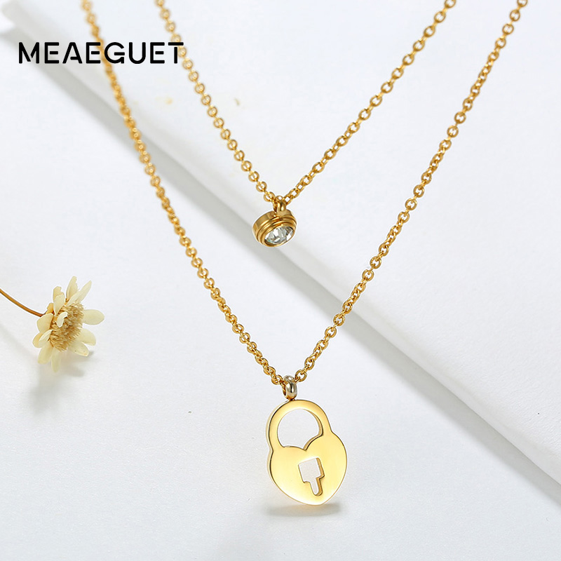 Meaeguet Heart Shape Lock Chokers Necklaces For Women Double-layered Stainless Steel Shiny Crystal Rhinestone Collar Bijoux