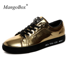 New Cool Male Casual Shoes Black Gold Mens Fashion Shoes Men Flats Shoes  Rubber Soles Men e679f75eb8f9