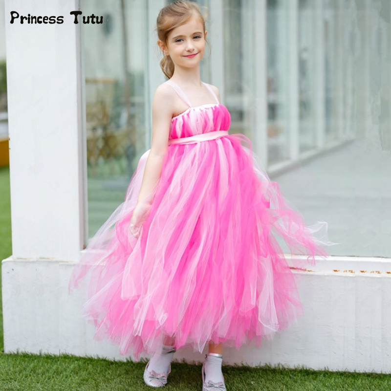 1-14Year Flower Girl Dresses Children Party Pageant Wedding Tutu Dresses for Girls Ball Gown Hot Pink Princess Kids Tulle Dress