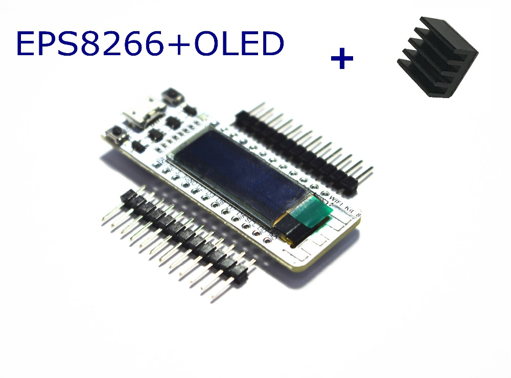 лучшая цена WIFI ESP8266 0.91 Inch Blue OLED Display WIFI Kit 32 IOT Development Board for Arduino with a heat sink