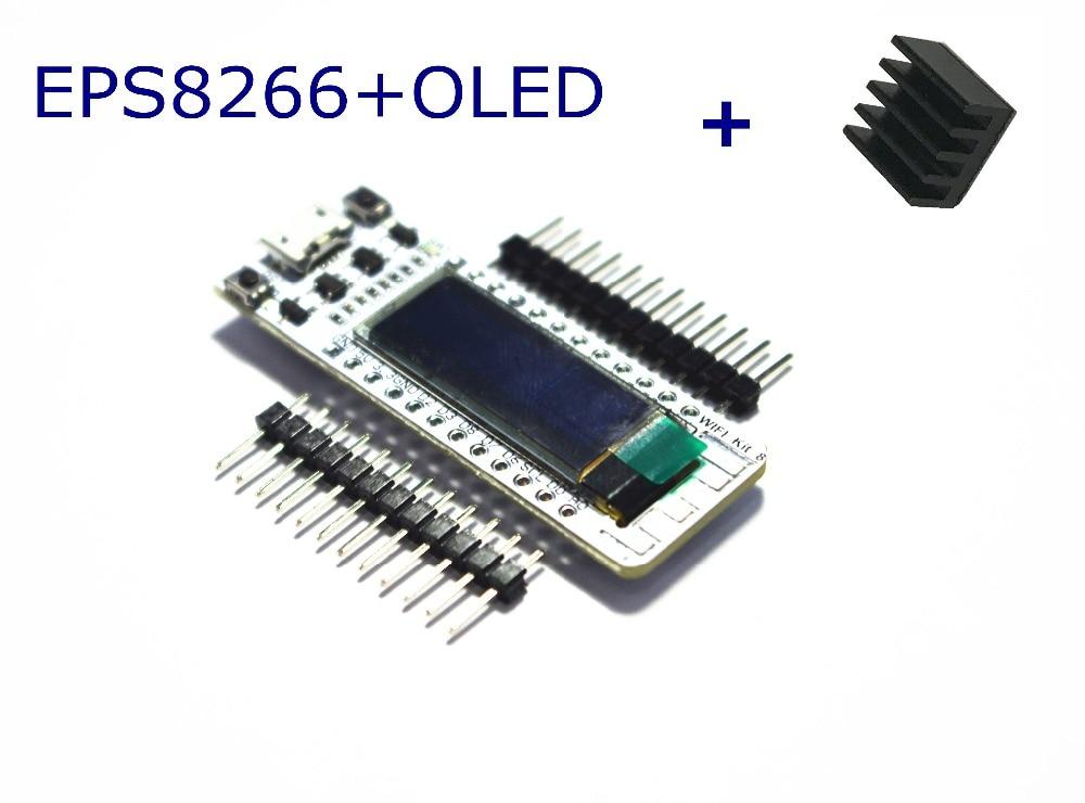 Placa de Desenvolvimento para Arduino com um Dissipador de Calor Oled de 0.91 Wifi Display Polegada Azul Kit Wi-fi 32 Iot Esp8266