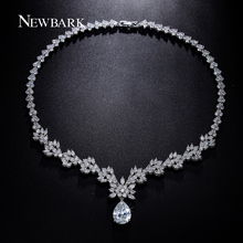 NEWBARK Leaf Snowflake Teardrop CZ Diamond Necklaces & Pendants Boho White Gold Plated Big Statement Necklaces Party Jewellry