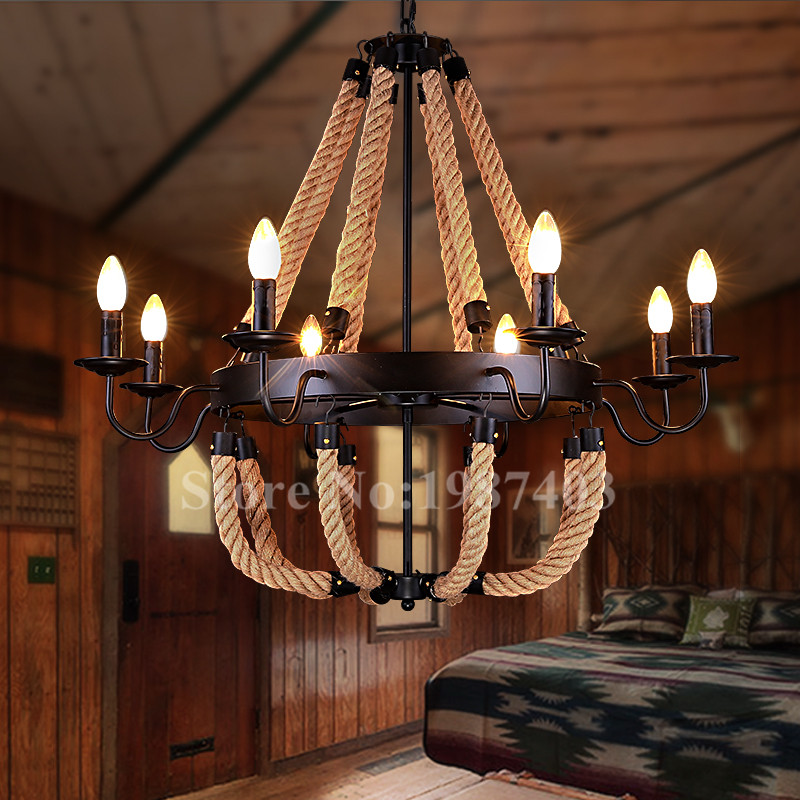 American rural  classic pendant lights Handmade hemp rope hang lamps Retro romantic mediterranean fixtures for bar & cafe