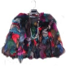 Daisy & Na Outweart Women Multi-color Vintage 100% Real Genuine Fox Fur Jacket Coat 216