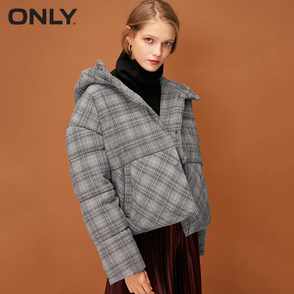 ONLY  Womens' Winter New Plaid Short Duck Down Hooded Down Jacket Snap Button Placket Soft And Comfortable Fabric 118323507