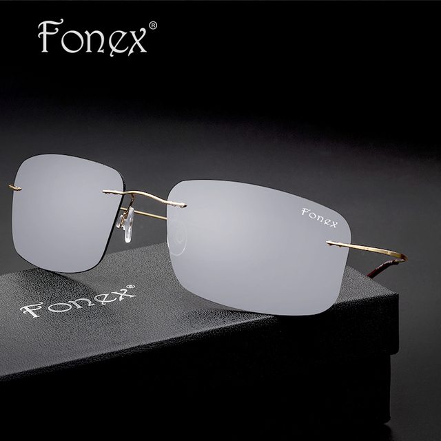 Fonex 2016 New Rimless Titanium Polarized Women Brand Designer Sun Glasses Men's Ultra-Light Frame Coating Sunglasses 8206