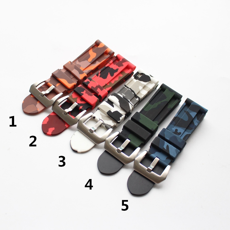 LUKENI 24mm Camo Gray Green Blue Yellow Silicone Rubber Strap For Panerai/Pam PAM111 Watchband Bracelet Can with or Without logo lukeni 24mm 26mm men s black gray green orange red silicone rubber strap replace panerai pam watchband bracelet without buckle