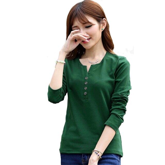 2016 Nova Plus Size 4XL Tops Mulheres Primavera Outono Camiseta Casual Tees Moda V Neck Manga Comprida de Algodão T Camisas Blusas Sólidos A519