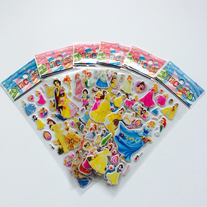6Pcs/lot Bubble Stickers 3D Cartoon Princess  Classic Toys Scrapbook For Kids Children Gift