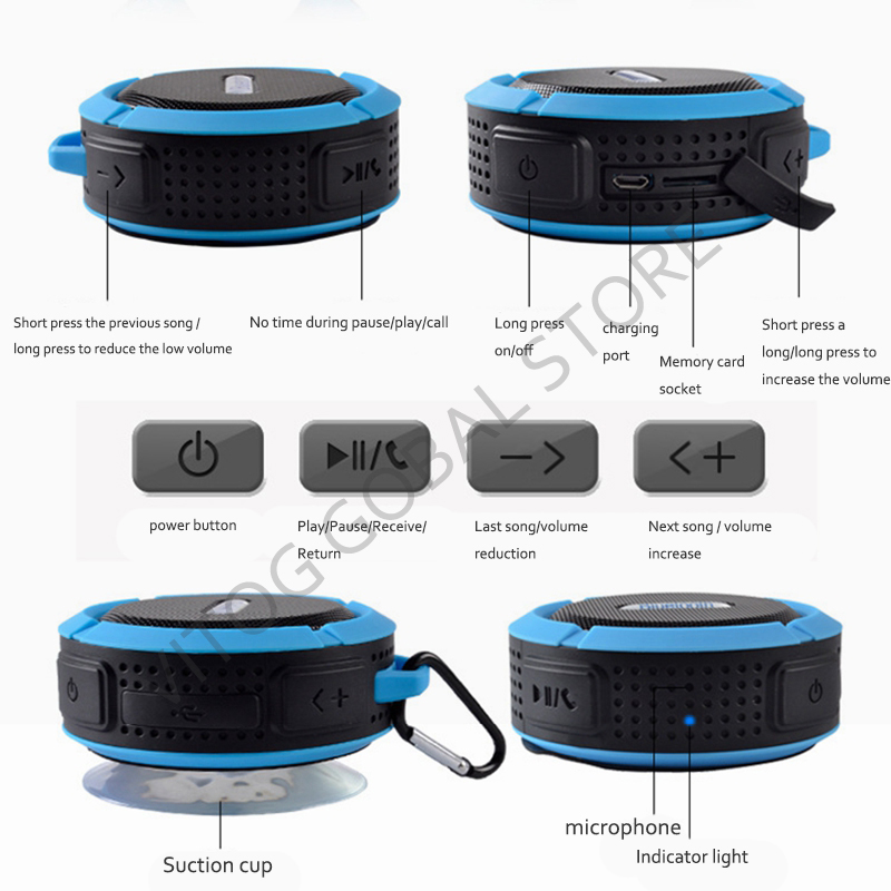 Image 5 - Bluetooth Speaker Mini Portable Waterproof Wireless Speakers Suction Cup support TF Card for iphones smart Phone outdoor speaker-in Portable Speakers from Consumer Electronics