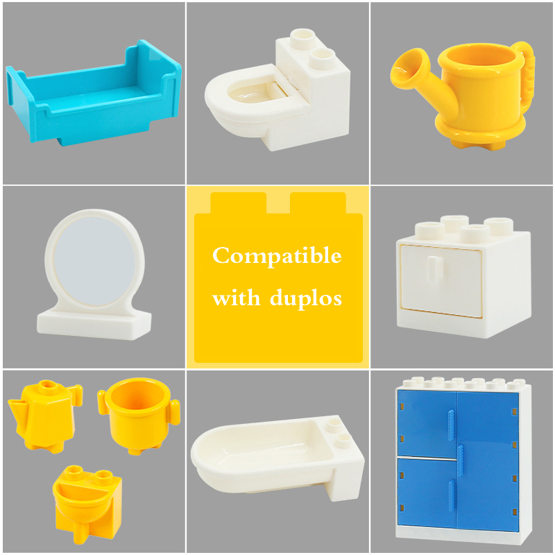 Large Particles Building Blocks Tables Chairs Bricks Mirror Furniture Accessory Girl DIY Toys Compatible With Duploe City Sets