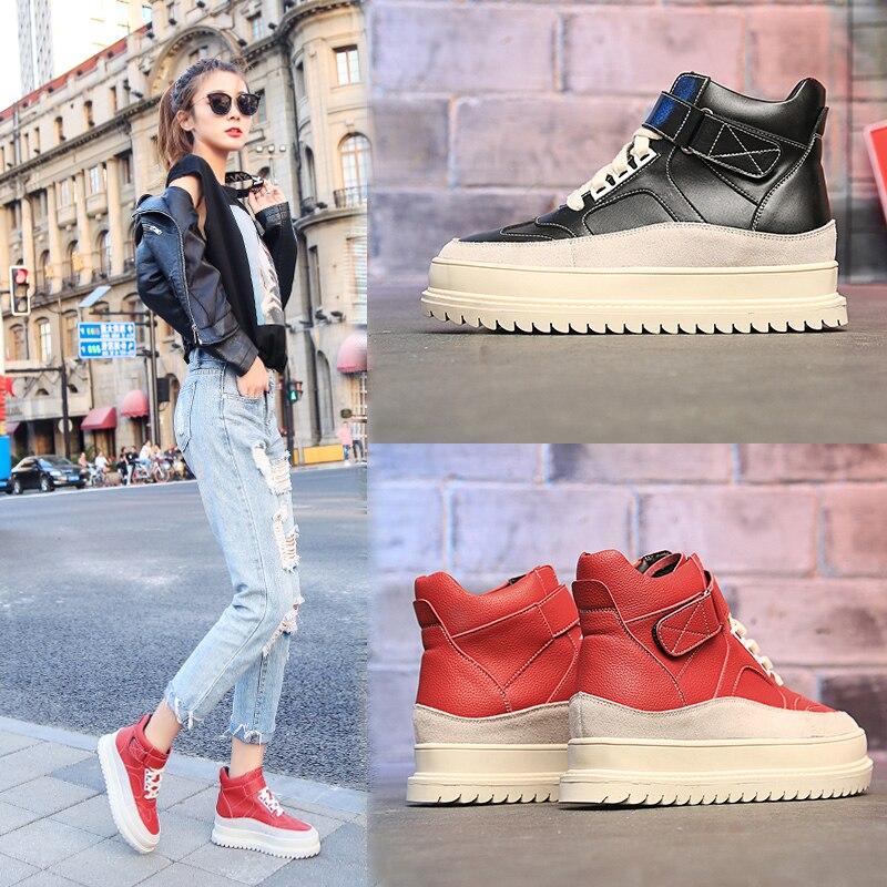 Compensées La Xgravity A069 Américaine 2019 Dames Printemps Hauteur Mode forme Chaussures De Red Cheville Européenne Nouveau Casual Plate black Croissante Bottes VSUzpqM