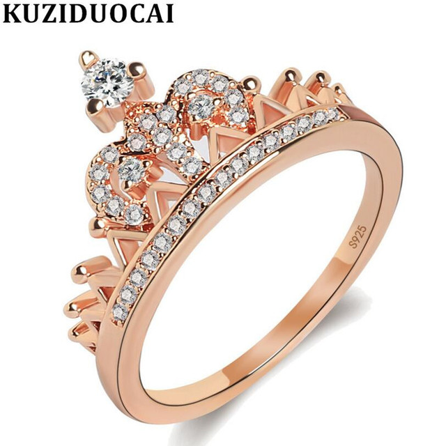 Kuziduocai New Fashion Jewelry Stainless Steel Zircon Crown Shape Wedding Bride