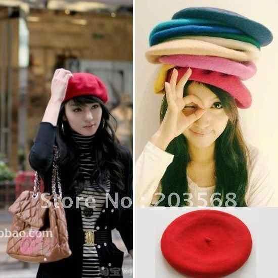 02a2c07201f4b ... De moda caliente boina de lana pintor sombrero las mujeres sentía  francés boina sombrero vendedor boinas ...