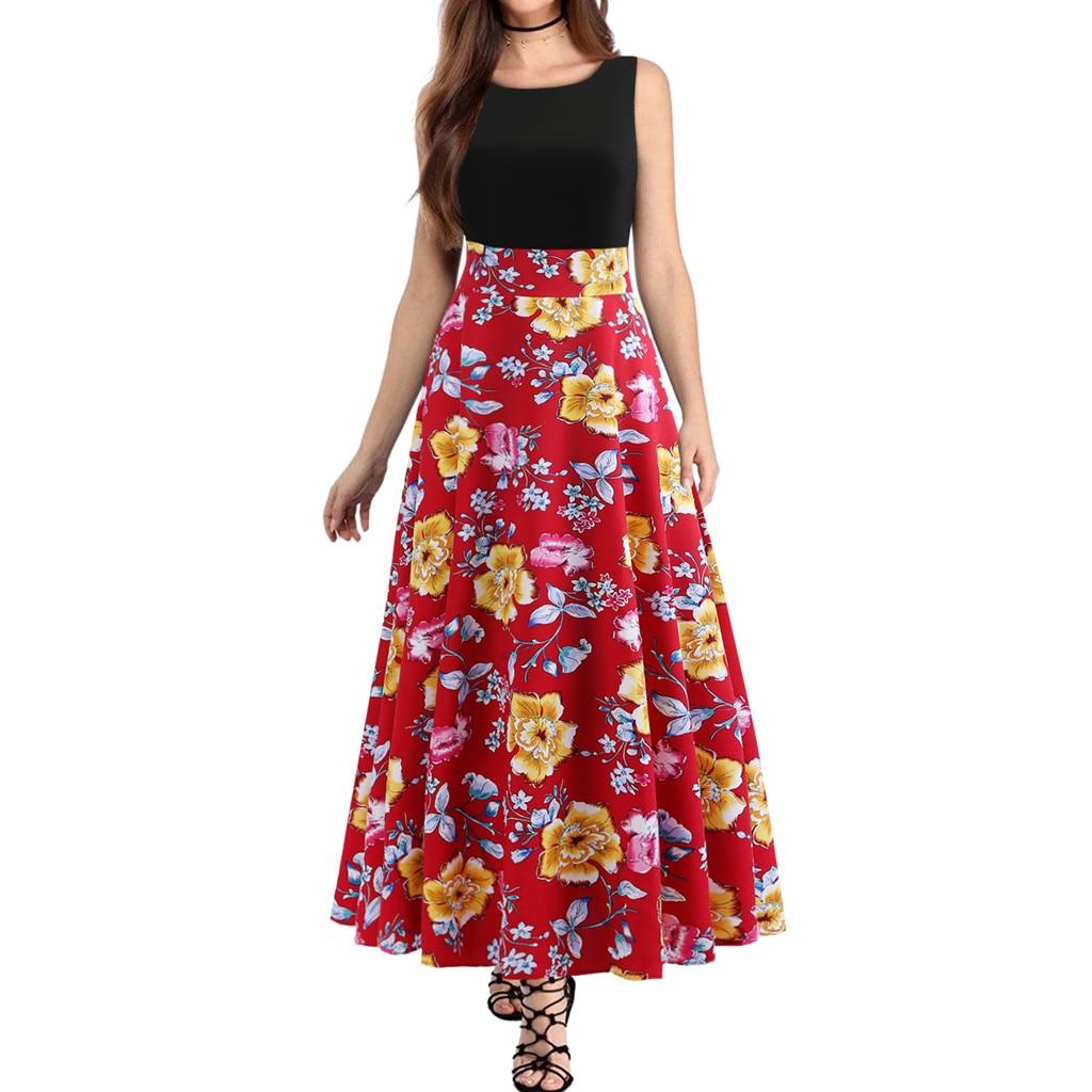 2019 Women's Floral Print Evening Print Party Prom Swing Zipper Long Dress dresses designer famous brands quality Mar8 p30
