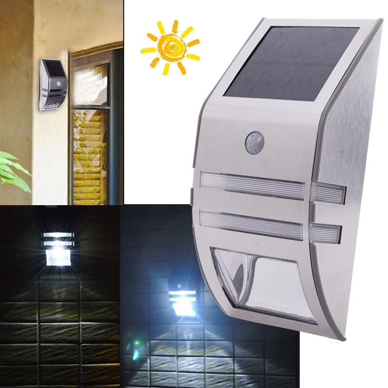 Solar Power Panel 2 LED Wall Light Motion Sensor PIR Waterproof Outdoor Sun Power Garden Yard