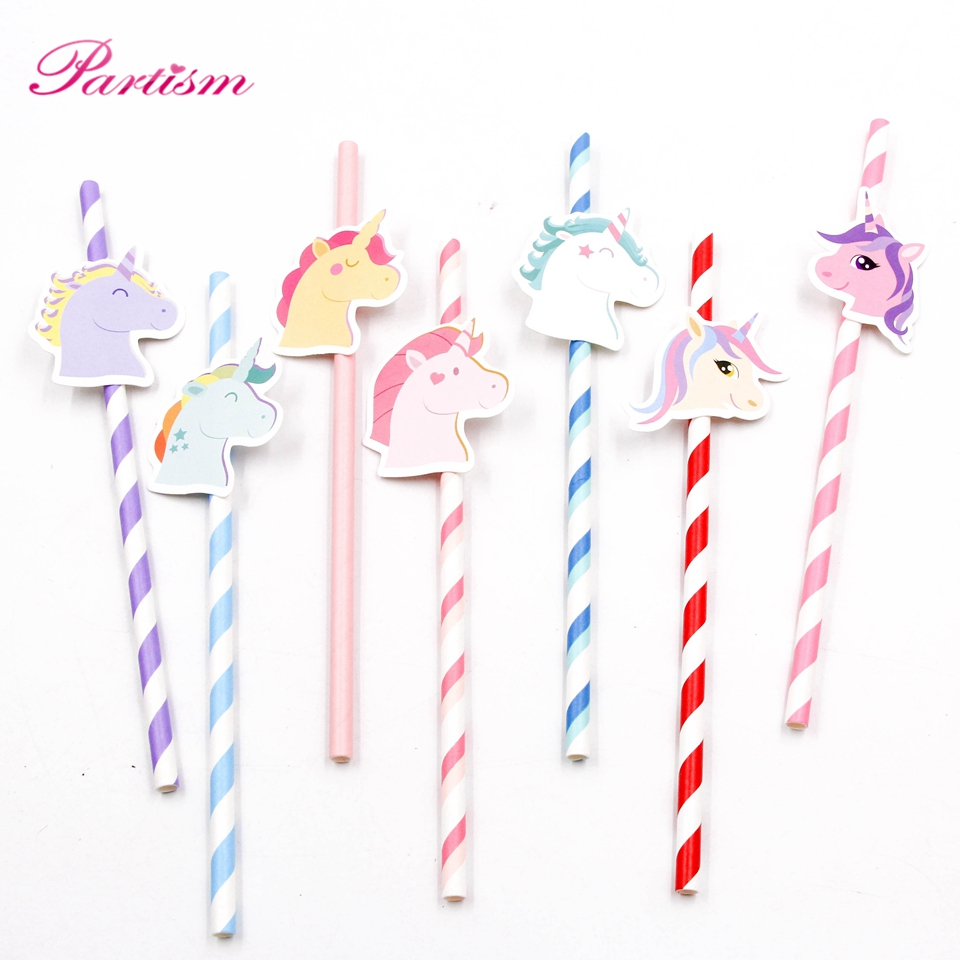 10PCS Creative Unicorn Paper Straw Cute Colorful Unicorn Drinking ...