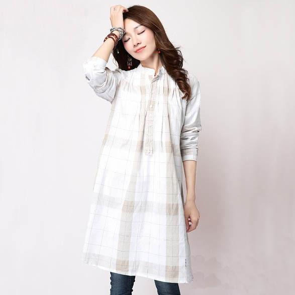 25f945610c2 White Blue Plus Size Plaid Shirts Mandarin Collar Long Sleeve Checked  Cotton Linen Shirts Casual Women Autumn Winter Tees