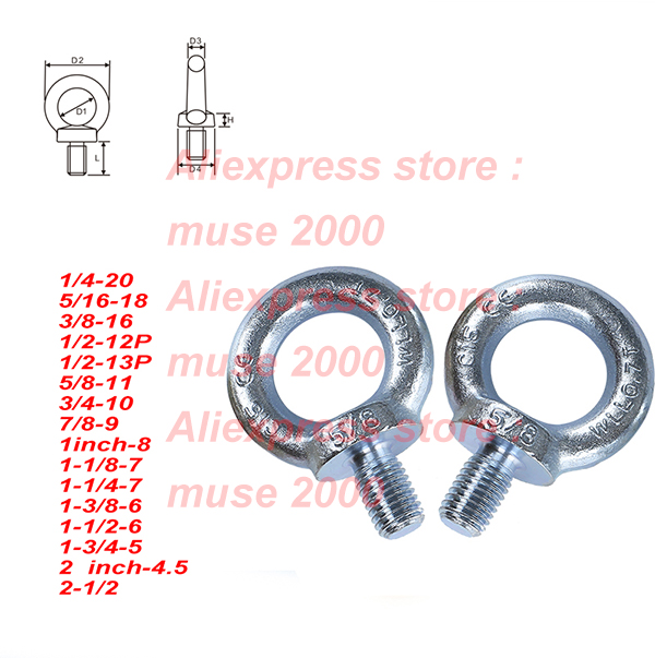 5pcs 1//2 Stainless Steel T316 Oval Bail Lifting Eye Nut